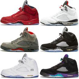 Discount summer suede shoes mens - 2019 Mens Basketball Shoes 5 V Olympic Metallic Gold White Cement Men 5S OG Black Metallic Red Blue Suede Desinger Sport