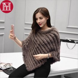 $enCountryForm.capitalKeyWord NZ - Ladies' Genuine 100% Real Knitted Rabbit Fur Poncho Women Fur Pashmina Wrap Female Party Pullover Good Quality Rabbit Fur Scarf D18102406