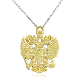 Wholesale coat of arms for sale - Group buy Russian Coat of Arms Double Headed Eagle Necklace Emblem of Russia Pendant