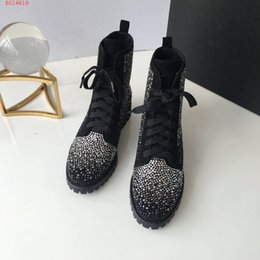 Spring Water Quality Canada - Luxury brands Early autumn show new top quality leather goods Full water drill inlaid upper women's Fashion Boots Martin Boots