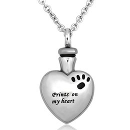 Wholesale paws prints for sale - Group buy prints on My Heart Love Urn Necklaces Pet Cat Dog Paw Print Memorial Cremation Ashes Ash Holder Keepsake Stainless Steel Jewelry