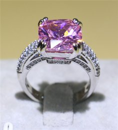 Luxury Wedding Bands NZ - Luxury 6ct Pink Sapphire Cz Jewelry White Gold Filled Wedding Engagement Band Ring For Women Eternal Anniversary Gift Size 6-10