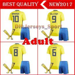 daa3ef84c 18 19 Sweden MEN Jerseys Soccer sets home 2018 world cup KITS IBRAHIMOVIC  KALLSTROM LARSSON TOIVONEN Marcus Berg adult football shirts