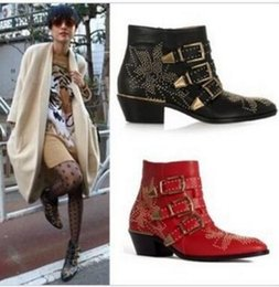 Buckle Studded Boots NZ - Brand Fashion Fall Winter Susanna studded leather ankle boots Women Metal Trio Buckle Strap Cuban Heels Rivet Flower Martin Boots Mujer
