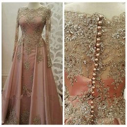 Saudi Arabia Evening Dresses 2019 Dubai Kaftan Lace Beaded High Neck Beautiful Elegant Party Moroccan Long Muslim Formal Gowns We Have Won Praise From Customers Weddings & Events