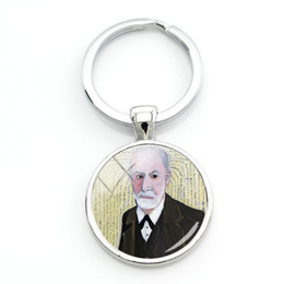 $enCountryForm.capitalKeyWord NZ - Fashion Sigmund Freud Keyring Psychoanalysis Keychain Silver Round Glass Dome Key Chains Handmade Key Rings Women