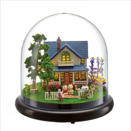 romantic figures NZ - Romantic Castle Dollhouse Wooden Doll Houses Miniature Home Assembling Dollhouse Diy Glass Ball Toys Kit totoro Figure Valentine's Day gift