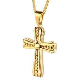 $enCountryForm.capitalKeyWord NZ - Men Long Gold Color Statement Cross Pendant Necklace Fashion Hip Hop Jewelry Design Stainless Steel Chain Men Necklace for Men