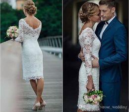 Full Length Robe Zipper NZ - Knee Length Mermaid Wedding Dresses Sexy V Neck Illusion Long Sleeve Full Lace Short Sheath Wedding Bridal Gowns Custom Robe De Mariée