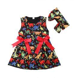 Chinese  2018 Kids Girls Black Princess Tutu Dress Dinosaur Animal Vestidos Tulle Red Bowknot Ribbon Sleeveless Dresses Summer Sundress Boutique 1-6Y manufacturers