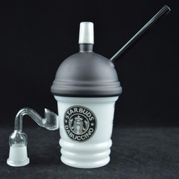 Dabuccino Recycler Bongs Canada - New Starbuck Glass Cup Recycler Original Opaque Hand Blown Bong Glass Dome and Nail Glass Cup Dabuccino Portable Concentrate Cup Oil Rigs