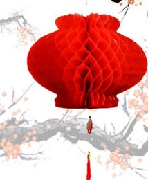 Waterproof chinese lanterns online shopping - 16Inch Chinese Paper Lantern Waterproof Dustproof Red Paper Honeycombs New Year Wedding Party Decoration
