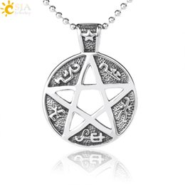 $enCountryForm.capitalKeyWord Canada - CSJA Tribe Totem Pentacle Jewelry for Male Gothic Retro Silver Pentagram Charms Pendant Necklaces Vikings Stylish Daily Jewellery S001