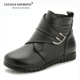 Thick Genuine Leather Australia - Cuculus 2018 Genuine Leather Women Winter Boots Hook Loop Non Slip Flat Thick Plush Fur Warm Snow Boots Women Ankle 1816