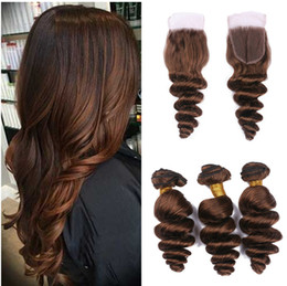 Chinese  Chestnut Brown Lace Closure With Bundles Loose Deep Wave Hot Sale Human Hair Weaves Peruvian Virgin Hair Bundles With Closure manufacturers