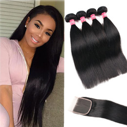 brazilian human hair 28 inches 2019 - 8A Remy Malaysian Straight Body Wave Kinky Curly Loose Wave Deep Wave 3 Bundles With 4X4 Lace Closure Remy Human Hair Bu