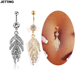 Steel Wholesalers Australia - Wholesales 1Pcs Women Sexy Leaf Feather dangle belly button rings stainless steel navel piercings fashion body jewelry 2 Colors