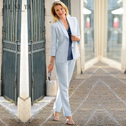$enCountryForm.capitalKeyWord Australia - Light Sky Blue Formal Women Elegant Pant Suits Office Uniform Work Wear Casual 2 Piece Sets Tops And Pants Female Trouser Suit