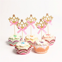 Discount gold crown decorations - 10pcs lot Gold Shine Bow Tie Prince Crown Cupcake Topper Crystal Crown Topper Party Supplies Kids Boy Birthday Party Dec