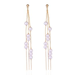 China 2018 Korean Elegant Women Long Earring Pearl Charm Pendent Snake Chain Tassel Earrings cheap long chain pearl earrings suppliers