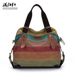 handbags colorful patchwork 2019 - Colorful Women Canvas Shoulder Bag Large Satchel Handbags Ladies Patchwork Crossbody Messenger Bag Women Casual Tote 119