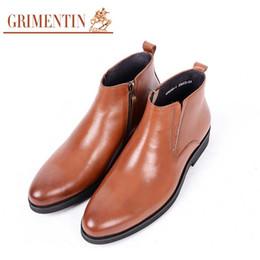 Italian Shoe Boots Men Australia - GRIMENTIN Hot sale men ankle boots 100% genuine leather black brown business office mens shoes 2019 new fashion Italian mens boots WF