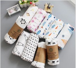 Wholesale 62 Designs Baby Muslin Blanket Cotton Flamingo Panda Cactus Feather Deer Pineapple Swaddle Bedding Bathing Towel Stroller Nursing Cover