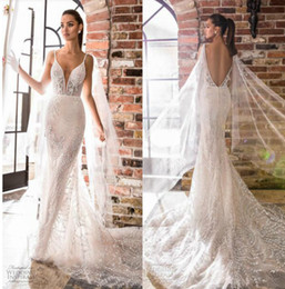 2cf43829f0 Elihav Sasson Princess Mermaid Wedding Dresses Backless Bridal Gowns Lace  Special Cut Sweep Train Illusion Wedding Dress Custom Made