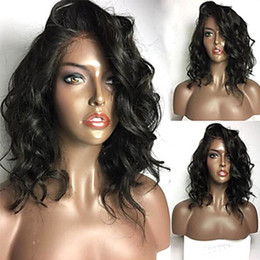 lace wigs african american hair Australia - Remy Human Hair Full Lace Wig Brazilian Hair Wavy 130% Density 100% Hand Tied African American Wig Natural Hairline Short Medium Long