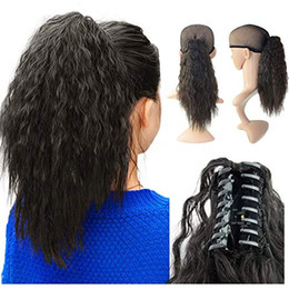 $enCountryForm.capitalKeyWord NZ - Evermagichair Claw Ponytail Clip in Hair Extensions Long Yaki Curly Hairpiece 80g with Jaw Clip 1B,2 33,4 30