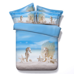 Yellow White Bedding Sets Australia - 3D ocean beach theme animal Duvet Cover bedding sets queen floral Bedspreads Holiday Quilt Covers Bed Linen Pillow Covers starfish bedspread