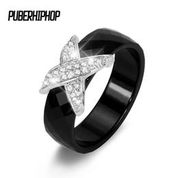 Women Black Ring Australia - 6MM Black and White X Cross Crystal Ceramic Ring Women Section Engagement Promise Wedding Band Rings For Women Christmas Gift