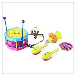 children drum set 2018 - 5Pcs Kids Baby Roll Drum Musical Instruments Band Kit Children Toy Set Xmas Gift High Quality cheap children drum set