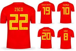 Isco Soccer Jerseys Canada - Customized new mens 18-19 Home Red 22 isco 15 Ramos Thai Quality Soccer Jersey,mens 3 Piqué 8 koke 20 Asensio isco 22 19 Rodrigo 8 Xavi wear