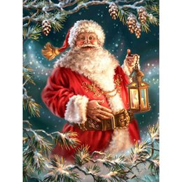 Dia Paintings NZ - embroidery Santa Claus dia mond painting Cross 5d diy diamond Stitch full round Rhinestone mosaic home decoration