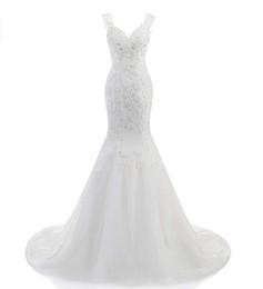 Wedding Dresses Plus Size Brides UK - 2018 Women's Lace Mermaid Wedding Dress for Bride Beaded Bridal Gown Plus Size With Sleeveless Button Mermaid Bridal Wedding Dresses