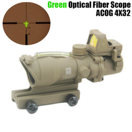 micro rifle scopes UK - Tactical Trijicon ACOG 4x32 Fiber Source Green Optical Fiber Riflescope With RMR Micro Red Dot Sight Marked Version Black Dark Earth