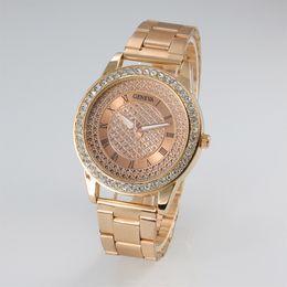 geneva gold watch 2019 - Brand Geneva Womens Luxury Watches Rose Gold Diamond Stainless Steel Ladies Watch Roman NO. Quartz Black Wristwatch Cloc