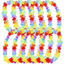 hawaiian party dresses Canada - Hawaiian leis Party Supplies Garland Necklace Colorful Fancy Dress Party Hawaii Beach Fun Supplies LX3422