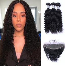 $enCountryForm.capitalKeyWord Australia - Hot Selling Brazilian Deep Wave Human Hair Wefts with 13x4 Lace Frontal Ear to Ear Natural Color Can be Dyed Human Hair Extensions