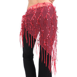 $enCountryForm.capitalKeyWord UK - Oioninos Brand New Women Belly Dance Costume Triangle Hand Make Sequin Tassles Mesh Hip Scarf Wrap 9 Colors