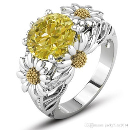 yellow topaz crystal NZ - Sunflower Ring Retro Fashion Jewelry 925 Sterling Silver Filled Round Shape Yellow Topaz CZ Zirconia Crystal Women Wedding Band Pave Ring
