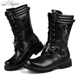 Metal Sneakers Australia - 2019 Mhysa 2018 Army Boots Men High Military Combat Men Boots Mid Calf Metal Chain Male Motorcycle Boots Autumn Men's Shoes S836 Sneakers