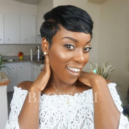 $enCountryForm.capitalKeyWord NZ - Chic Pixie Cut Natural Black Short human hair Wigs Hairstyle Cheap Brazilian Virgin Remy cut Hair Wigs for Black Women