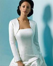 Ingrosso A buon mercato Abiti da sposa maniche lunghe avvolgere Bolero Satin donne inverno matrimonio mantello avvolgere Shrug per abiti da sera su misura