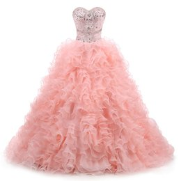 2018 New Arrived Real Photo Sexy Lace Crystal Ball Gown Quinceanera Dress  with Beading Organza Sweet 16 Dress Vestido Debutante Gowns BQ132 54d12ac02bb7