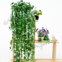 climbing vines NZ - Length of 240-250cm Artificial Silk Simulation Climbing Vines Green Leaf Ivy Rattan for Home Decor Bar Restaurant Decoration
