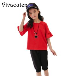 fc8413faacf Summer 2018 Teenage Girls Clothing Set Cotton Casual Short Sleeve Loose  T-shirt + Pants 2pcs Kids Clothes for Girls Shorts H123