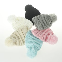 11a43456f6b New Arrival High Quality Children s CC Hat Woolen High Top Baby Knitted  Hair Ball Cap Cute Warm Multi-color Optional