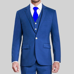 Mens Blue Check Suit Canada - High Quality Cheap Blue Groom Tuxedos Groomsmen Suit One Button Best Man Prom Party Suit Wedding Mens Suits Custom Made (Jacket+Pants+Vest)